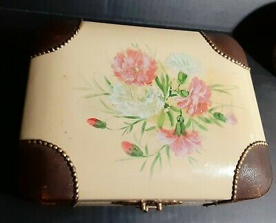 Antique 19th Century Wood and Leather Box with Silk and Red Velvet Interior