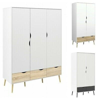Oslo Double and Triple Wardrobes in White with Drawers and Shelf Storage