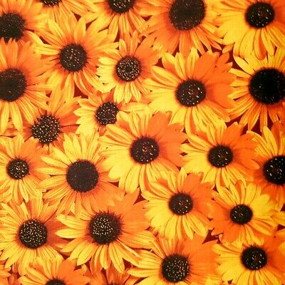 """Yellow Sunflower Theme Poly Cotton Fabric 60"""" Summer Floral By The Yard"""