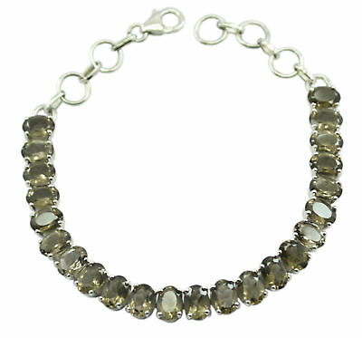 enticing Smoky Quartz 925 Sterling Silver Brown Bracelet genuine india US gift