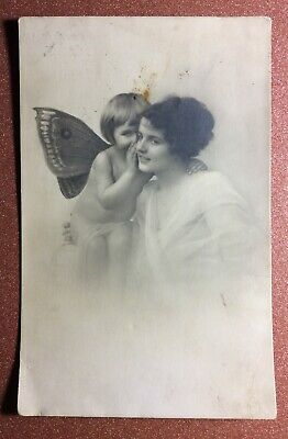 Tsarist Russia postcard 1909s Nude Baby ELF wings. Belle charming young woman
