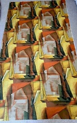 Vintage 50's Abstract - Cubist Influenced -Fabulous Cotton Fabric - 210cm Long