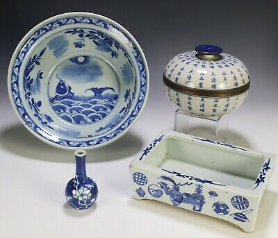 4 Piece Lot of Antique Chinese Blue and White Porcelain