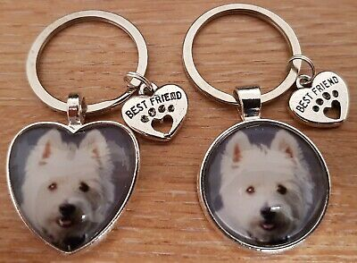 Personalised Photo Keyring Keychain Paw Prints Cat Dog Pet Best Friend Present