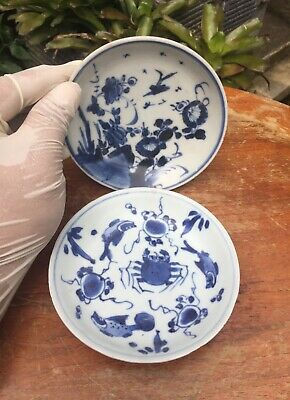 2 Pieces Antique Chinese Blue and white Porcelain Plate Kangxi Period(Shipwreck)