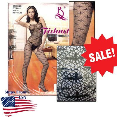 Black Gothic Lolita Tank Bodystocking Open-Crotch Fishnet Stocking Lingerie USA