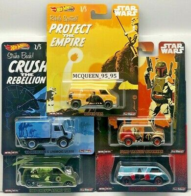 HOT WHEELS REAL RIDERS 2019 POP CULTURE STAR WARS SET of 5 DIE-CAST DLB45-946D