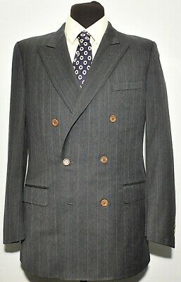 Superb Gieves And Hawkes Double Breasted Pinstripe Charcoal Grey Suit 40 L 32 W