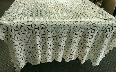 """Vintage White Handmade Crocheted Tablecloth , """"Six Point Star"""""""
