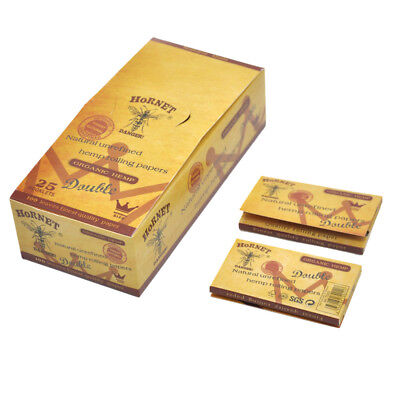 1 BOX/25 booklets Hornet 70*33MM Double Brown Wide Natural Smoking Rolling Paper