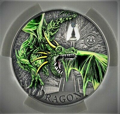 2019 $10 Palau Green Dragon 2oz Silver Coin PCGS MS70 First Day of Issue * 449 *