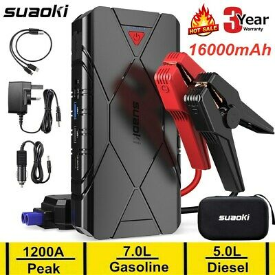 16000mAh 12V Car Jump Starter Booster Battery Charger Dual USB Power Bank 1200A