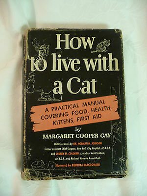 Vintage 1947 Book How to Live with a Cat by Margaret Cooper Gay