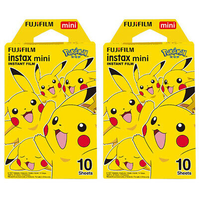 2 Packs 20 Photos Pokemon Pikachu FujiFilm Fuji Instax Mini Film Polaroid Liplay