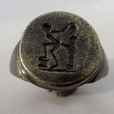 Roman Ancient Artifact Silver Roman Ring With Sex Scene