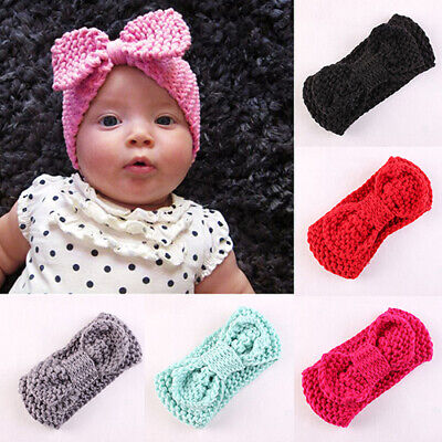 Newborn Baby Girls Crochet Ear Warmers Infant Bowknot Hairbands Headbands Super