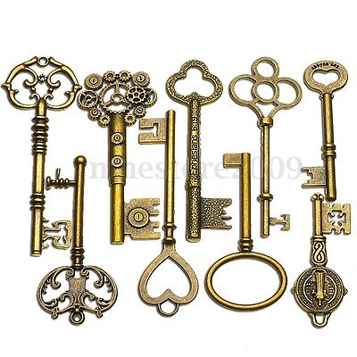 9PCS BIG Large Antique Vtg old Brass Skeleton Keys Lot Cabinet Barrel Lock  !