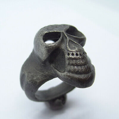 Gothic Ancient Artifact Silver Massive Ring With Skull