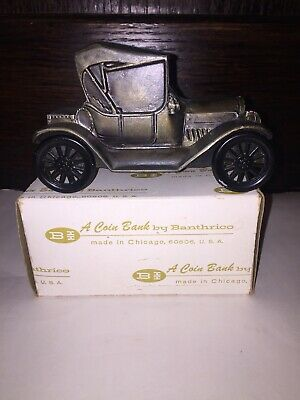 Vintage 1974 Banthrico 1915 Chevrolet Coin Bank Car White Metal With Box