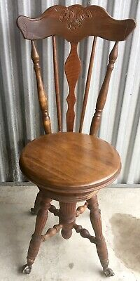 Antique Ball & Claw Foot Piano Chair with Back Excellent Condition carved oak