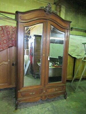 Antique French carved mirror doored mahogany armoire,wardrobe,Flat packs C1900