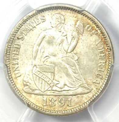 1891 Seated Liberty Dime 10C - Certified PCGS MS63 (BU UNC) - Rare Coin!
