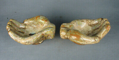 Old Chinese color glaze porcelain carved double hand figure statue