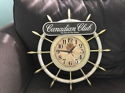 Vintage CANADIAN CLUB WHISKEY Ships Wheel Clock Battery Operated Best in House