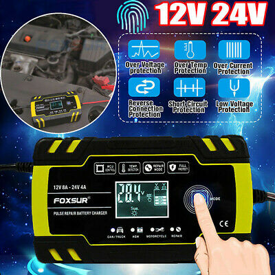 Car Battery Charger Pulse Repair Starter 8 Amp Intelligent 12V/24V AGM/GEL UK