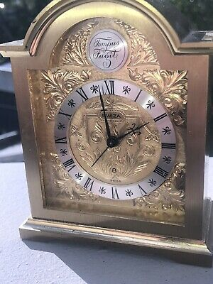 Swiss Mantle Alarm Clock Swiza Carriage 24k Gold Plated Engraved Tempus Fugit