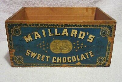 vintage Maillard's Sweet Chocolate wood box primitive advertising box lot T