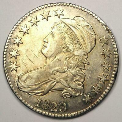 1823 Capped Bust Half Dollar 50C - Sharp Details - Rare Coin - Nice Luster!