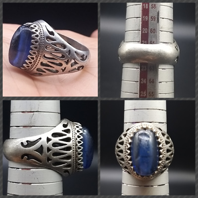 Very Antique Old Ancient Degging Sphire Stone Bead Solid Sliver Unique Ring