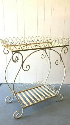 Lovely Solid Wrought Iron Two Tiered Ornate Stand / Basket - Cream