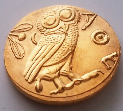 Owl Tetradrachm Coin Attica Athens Gold Plated Ancient Greece Animal Greek # 8