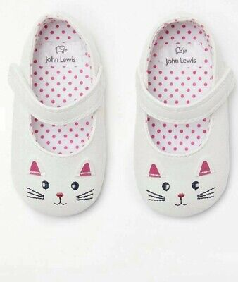 John Lewis & Partners Baby Mary Jane Cat Shoes / White 0-3 Months UK Seller