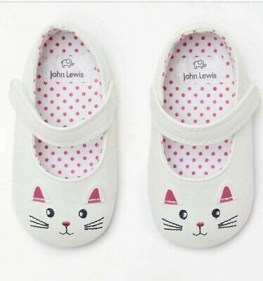 John Lewis & Partners Baby Mary Jane Cat Shoes / White 6-12 Months Free P&P