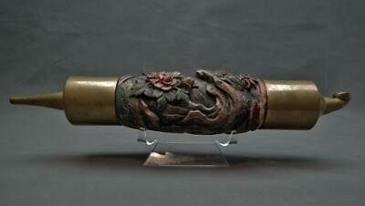 Large Antique Qing Dynasty Chinese Pipe Carved with Fu Dogs In Polychrome Wood