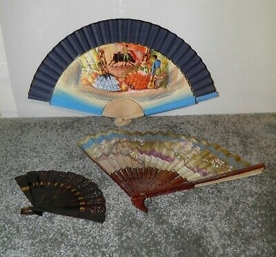Vintage Set of 3 Paper & Synthetic Folding Hand Fans