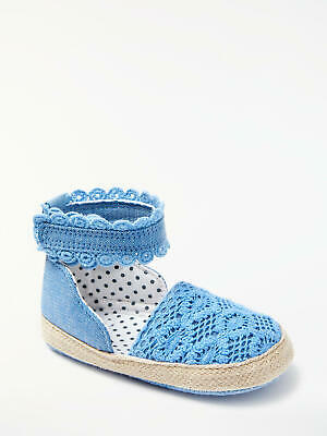 John Lewis & Partners Baby Chambray Espadrille Shoes / Blue 0-3 Months Free P&P