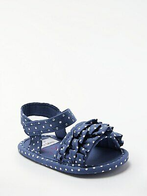 John Lewis & Partners Baby Frill Spot Sandals / Blue 3-6 Months Free UK Postage
