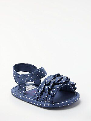 John Lewis & Partners Baby Frill Spot Sandals / Blue 6-12 Months Free P&P UK