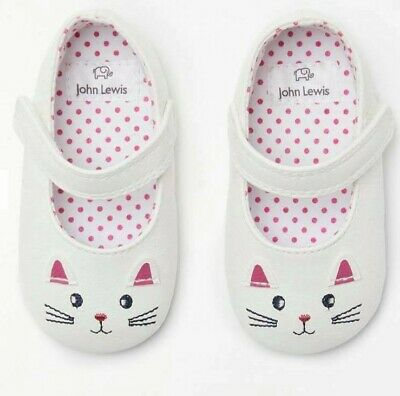 John Lewis & Partners Baby Mary Jane Cat Shoes / White 6-12 Months UK Seller