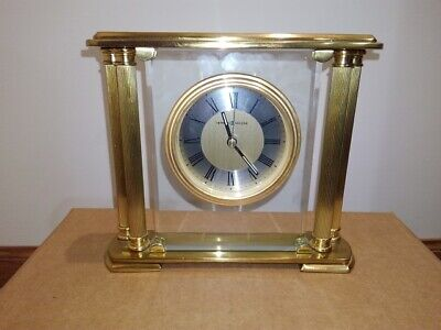 Howard Miller Brass & Glass Mantle Clock 613-627 Working Condition new battery