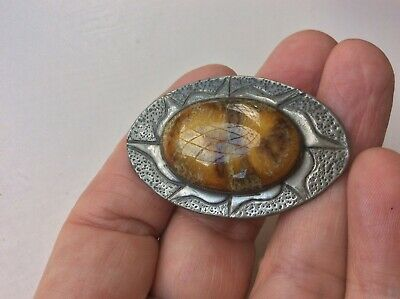 Fabulous Vintage Hammered Pewter & Agate Oval Brooch Arts & Crafts Jewellery
