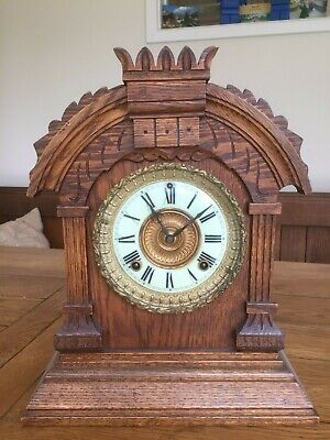 Antique Asonia Mantle Clock Tunis 8 Day Carved Oak American
