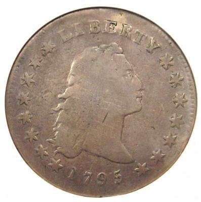 1795 Flowing Hair Silver Dollar ($1 Coin) - Certified ANACS VG Details - Rare!