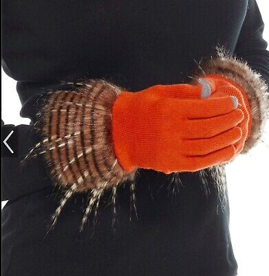 Mud pie Stella Fur Trimmed Super Cute Smart Screen Gloves, Burnt Orange/ Pump