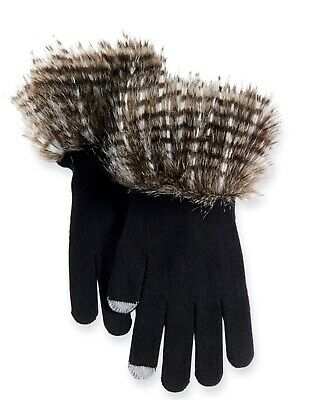 Mud pie Stella Fur Trimmed Super Cute Smart Screen Gloves, Black