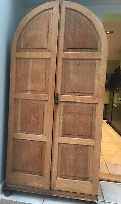 Oak Wardrobe Vintage Double Door Country Style Panelled Ideal Project / Restore